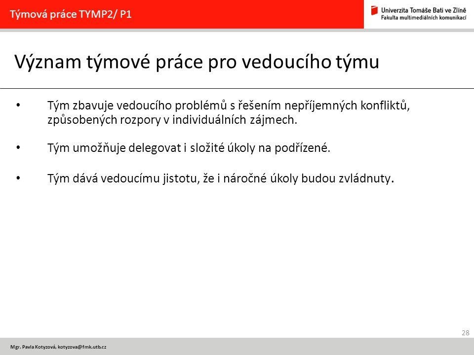 28 Mgr. Pavla Kotyzová, kotyzova@fmk.utb.cz Význam týmové práce pro vedoucího týmu Týmová práce TYMP2/ P1 Tým zbavuje vedoucího problémů s řešením nep