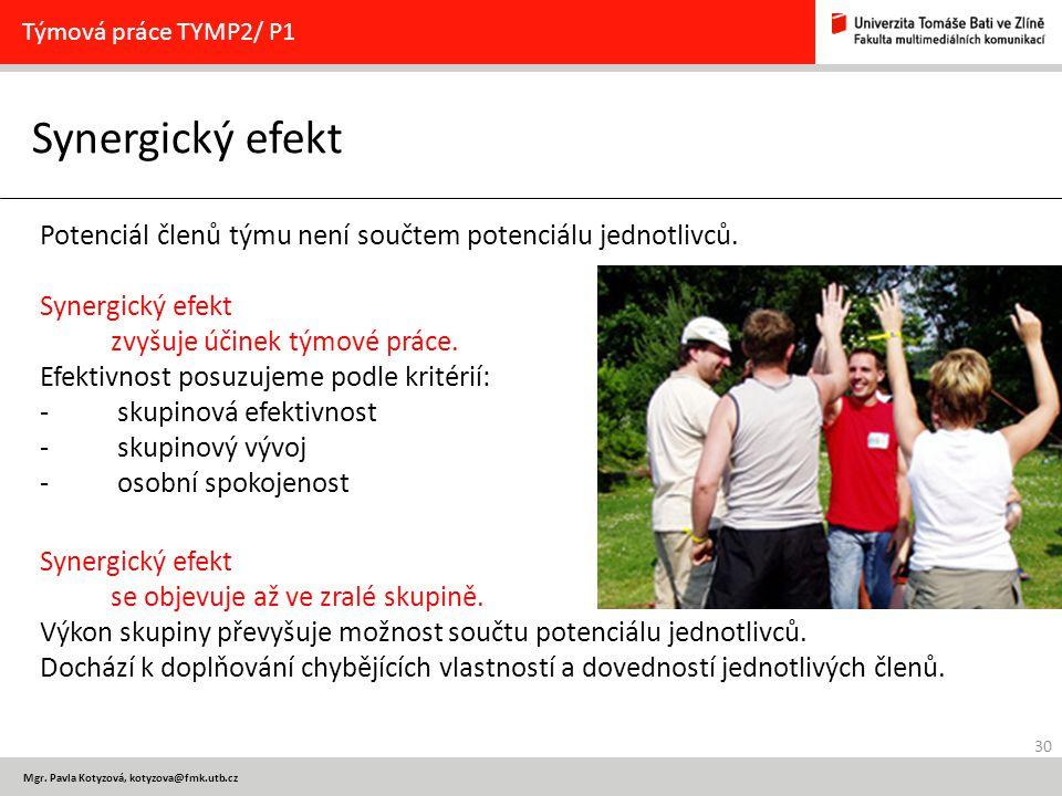 30 Mgr. Pavla Kotyzová, kotyzova@fmk.utb.cz Synergický efekt Týmová práce TYMP2/ P1 Potenciál členů týmu není součtem potenciálu jednotlivců. Synergic