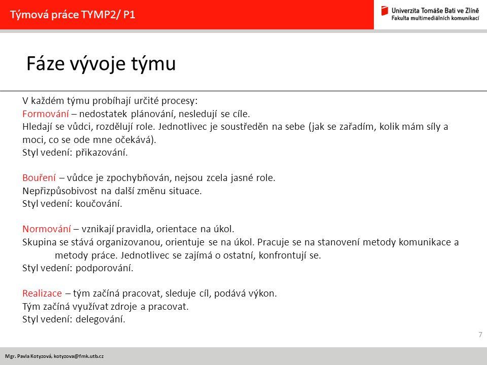 Mgr. Pavla Kotyzová, kotyzova@fmk.utb.cz Fáze vývoje týmu Týmová práce TYMP2/ P1 V každém týmu probíhají určité procesy: Formování – nedostatek plánov