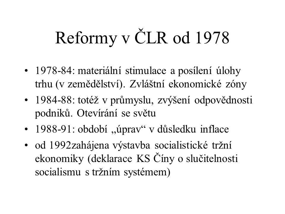 Reformy v ČLR od 1978 1978-84: materiální stimulace a posílení úlohy trhu (v zemědělství). Zvláštní ekonomické zóny 1984-88: totéž v průmyslu, zvýšení