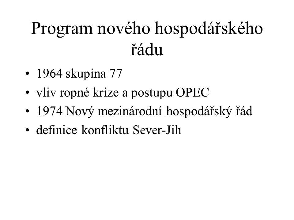 Program nového hospodářského řádu 1964 skupina 77 vliv ropné krize a postupu OPEC 1974 Nový mezinárodní hospodářský řád definice konfliktu Sever-Jih