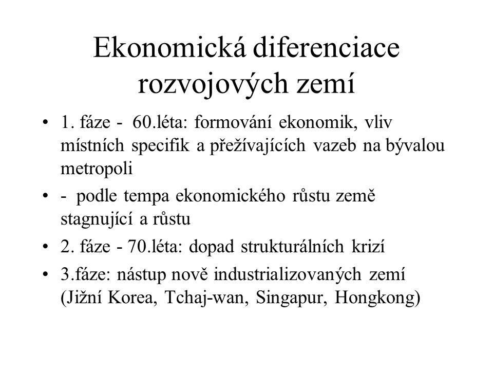Ekonomická diferenciace rozvojových zemí 1. fáze - 60.léta: formování ekonomik, vliv místních specifik a přežívajících vazeb na bývalou metropoli - po