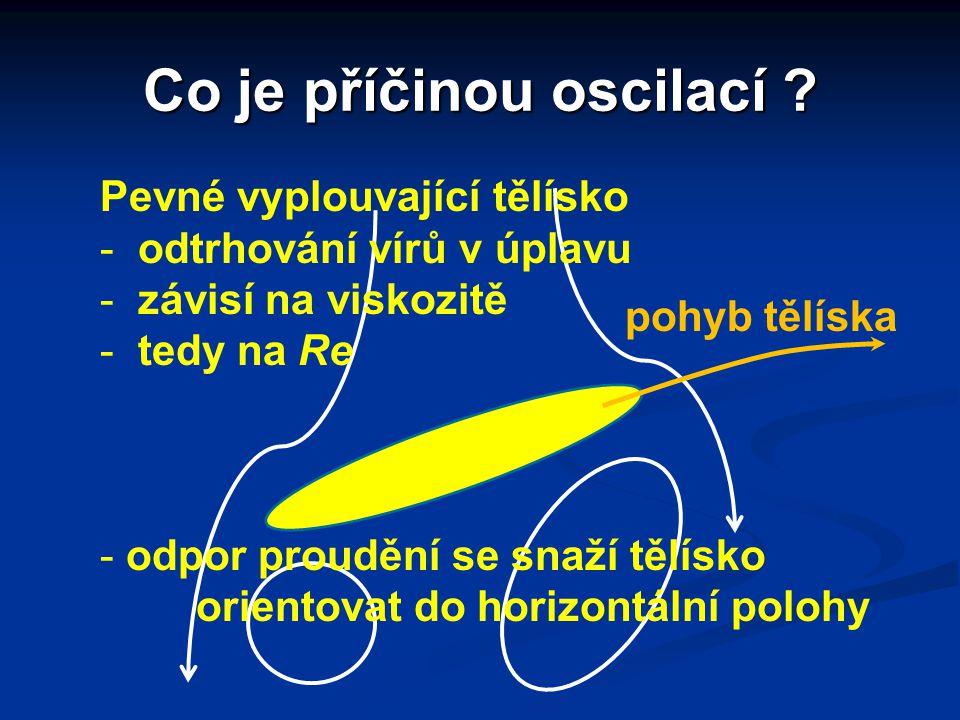 Co je příčinou oscilací ? Pevné vyplouvající tělísko - odtrhování vírů v úplavu - závisí na viskozitě - tedy na Re - odpor proudění se snaží tělísko o