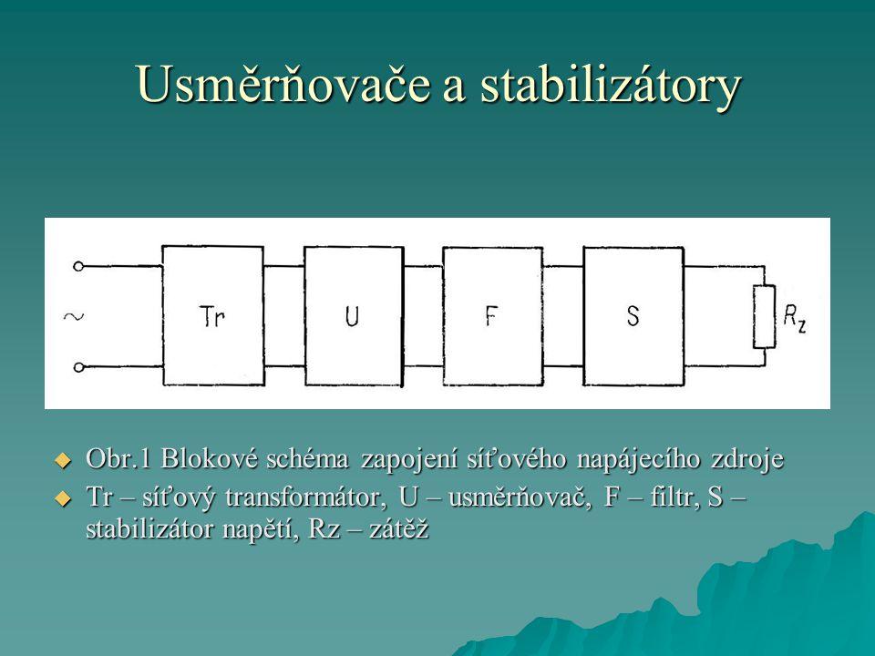 Usměrňovače a stabilizátory  Obr.1 Blokové schéma zapojení síťového napájecího zdroje  Tr – síťový transformátor, U – usměrňovač, F – filtr, S – sta