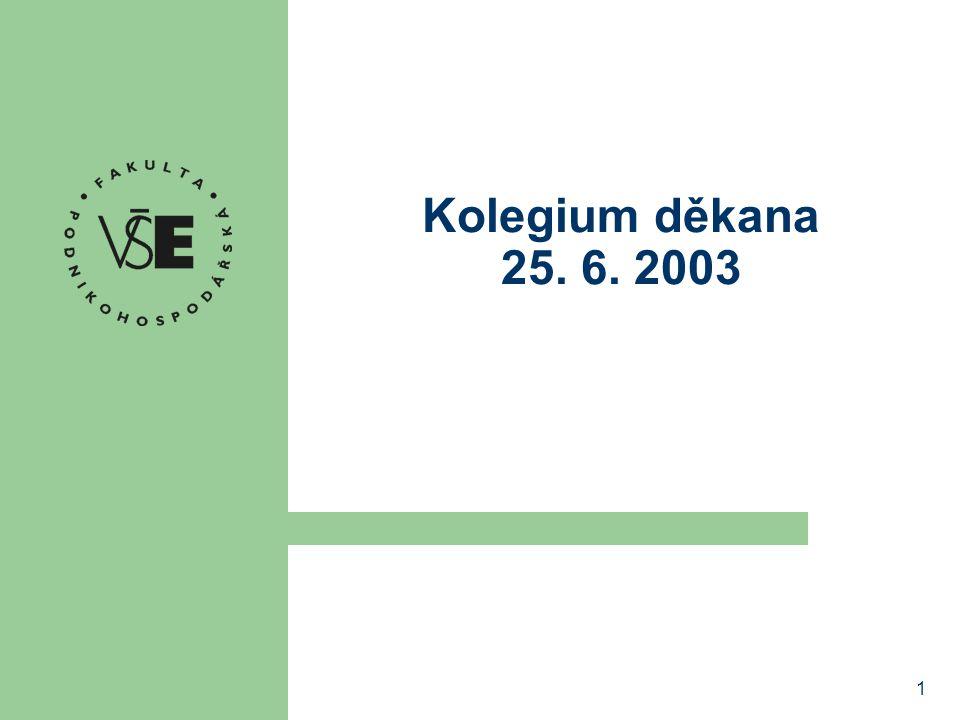 1 Kolegium děkana 25. 6. 2003