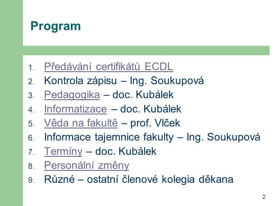 2 Program 1. Předávání certifikátů ECDL Předávání certifikátů ECDL 2.