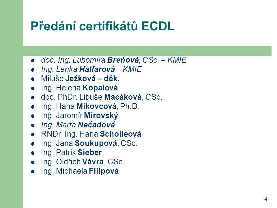 4 Předání certifikátů ECDL doc. Ing. Lubomíra Breňová, CSc.