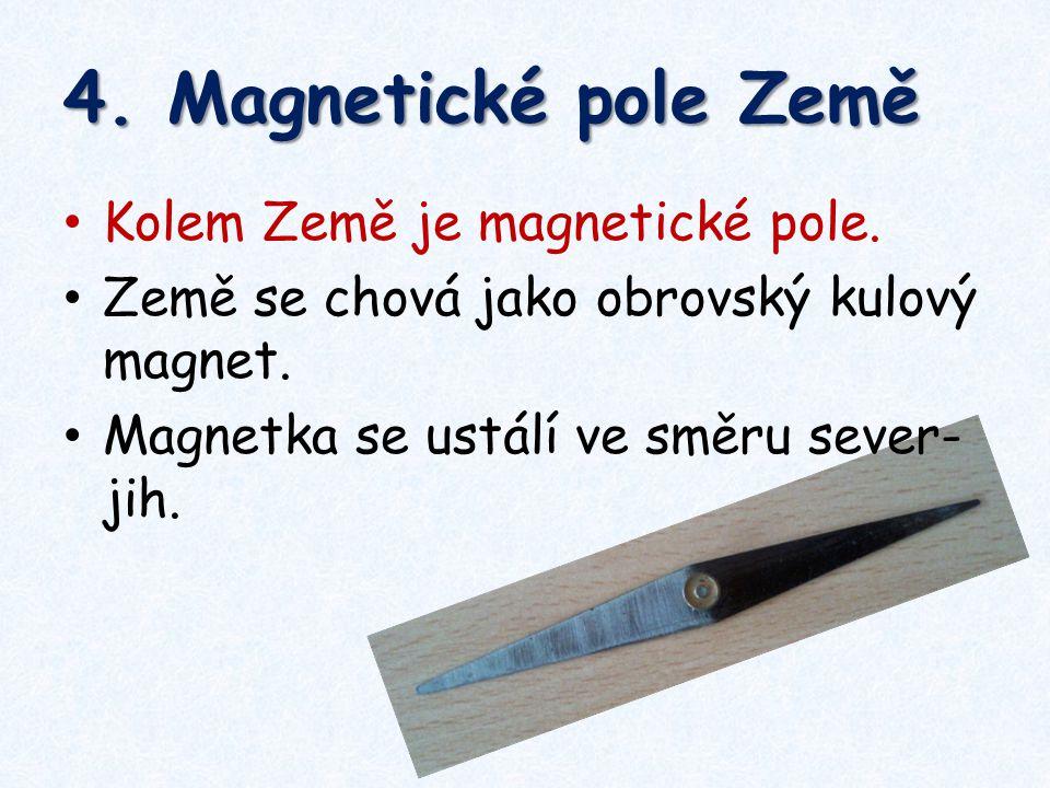 4. Magnetické pole Země Kolem Země je magnetické pole. Země se chová jako obrovský kulový magnet. Magnetka se ustálí ve směru sever- jih.