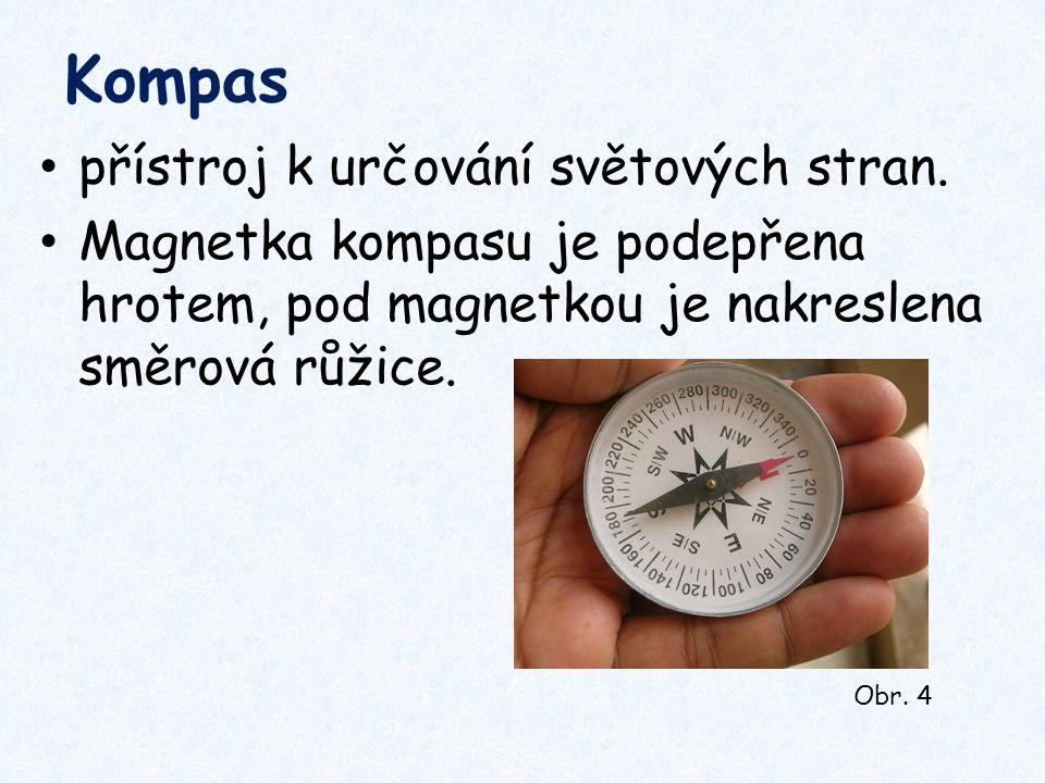 Kompas přístroj k určování světových stran. Magnetka kompasu je podepřena hrotem, pod magnetkou je nakreslena směrová růžice. Obr. 4
