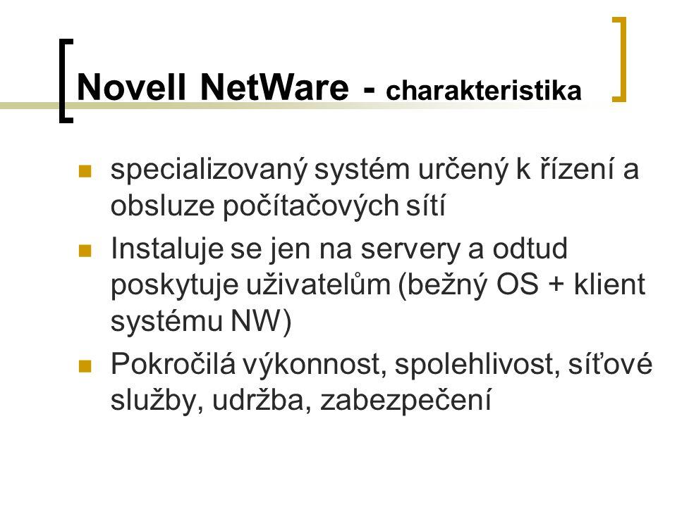 Netware 1.x 1983 - NetWare verze 1.0  vytváření sítí počítačů se standardem IBM PC  Multitasking, zabezpečení síťe – přístupová práva, ethernet, OS MS-DOS 1985 - Advanced NetWare 1.2  Reakce na potřeby trhu  prvním OS určený pro Intel 80286 (schopný využívat jeho chráněný režim).