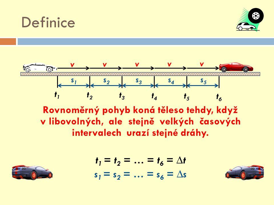 Definice Rovnoměrný pohyb koná těleso tehdy, když v libovolných, ale stejně velkých časových intervalech urazí stejné dráhy. t 1 = t 2 = … = t 6 = ∆t