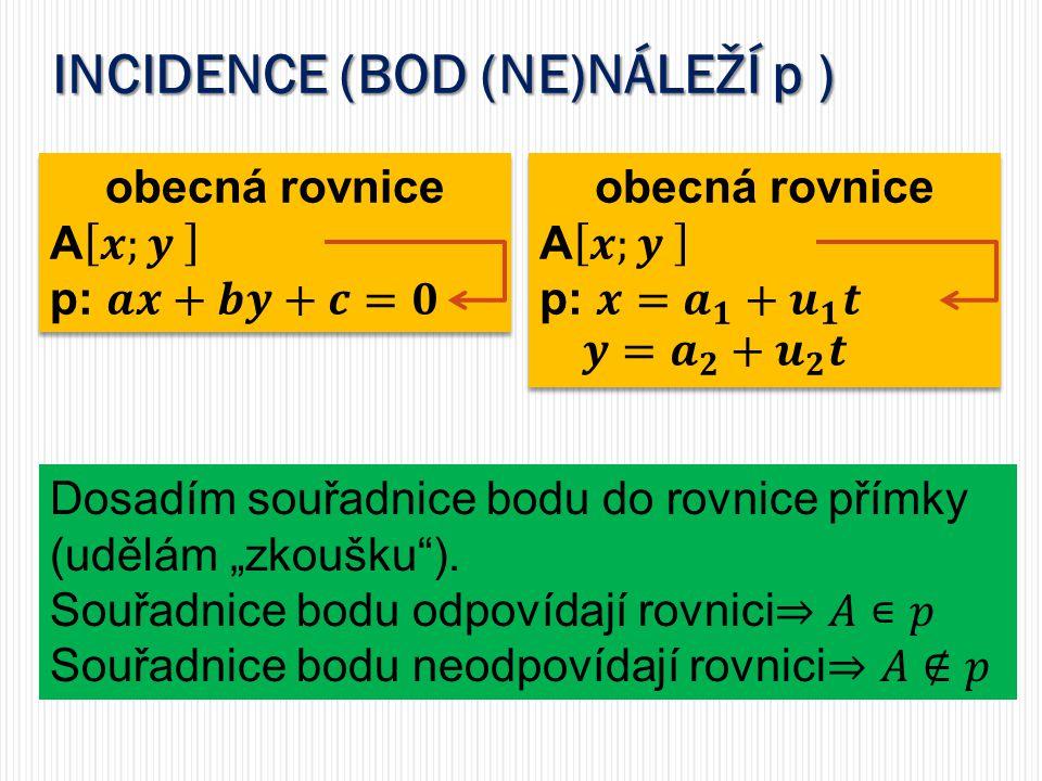 INCIDENCE (BOD (NE)NÁLEŽÍ p )
