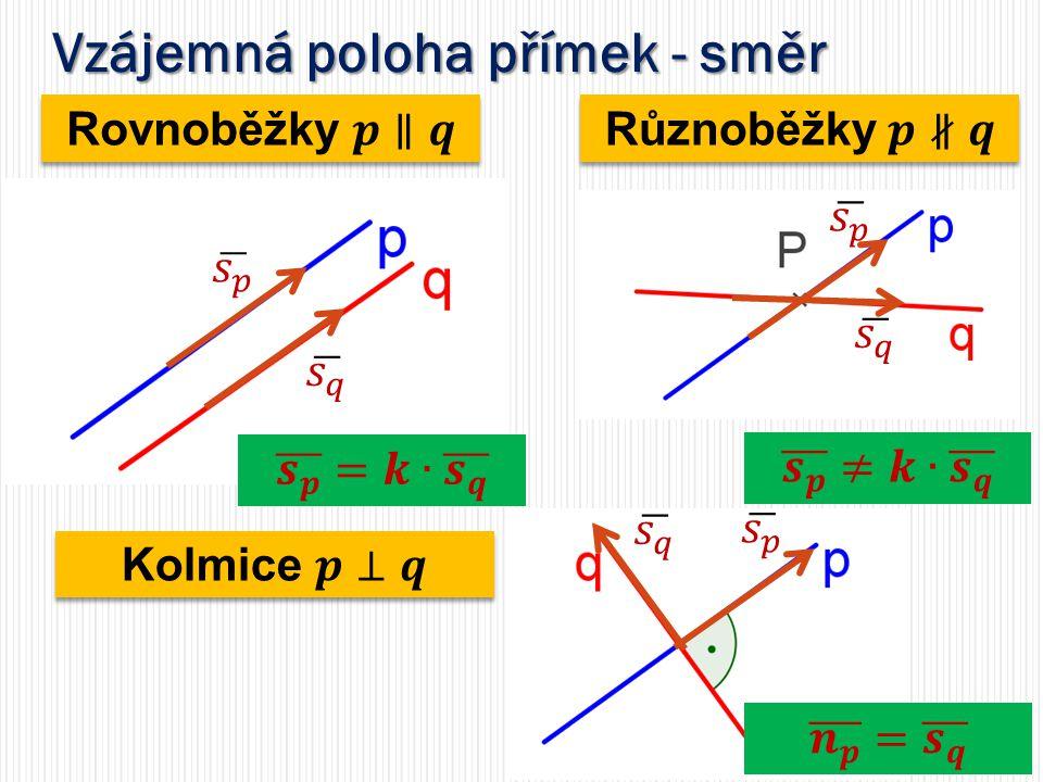 Rovnoběžky - obecná rovnice stejný normálový vektor jiný parametr c stejný normálový vektor jiný parametr c Vzájemná poloha přímek - směr