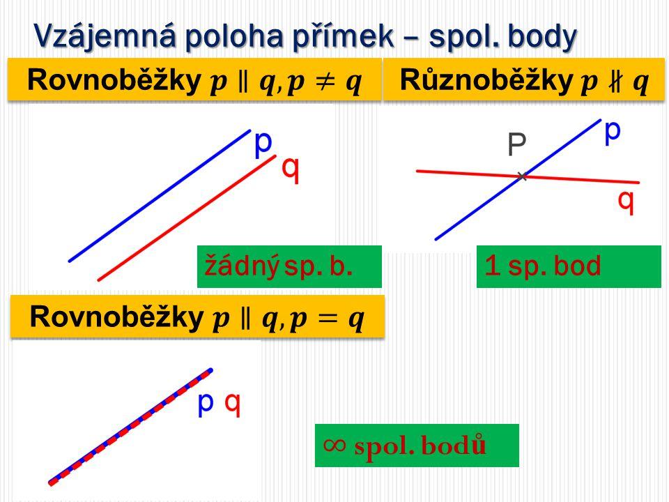 Vzájemná poloha přímek – spol. body žádný sp. b.1 sp. bod