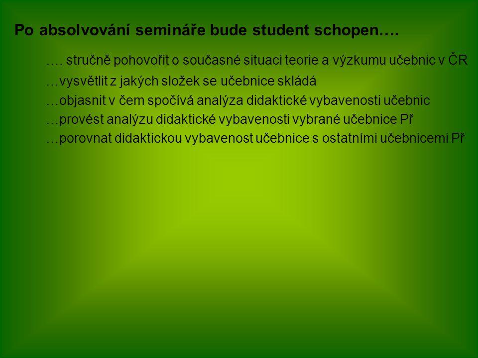 Po absolvování semináře bude student schopen….….