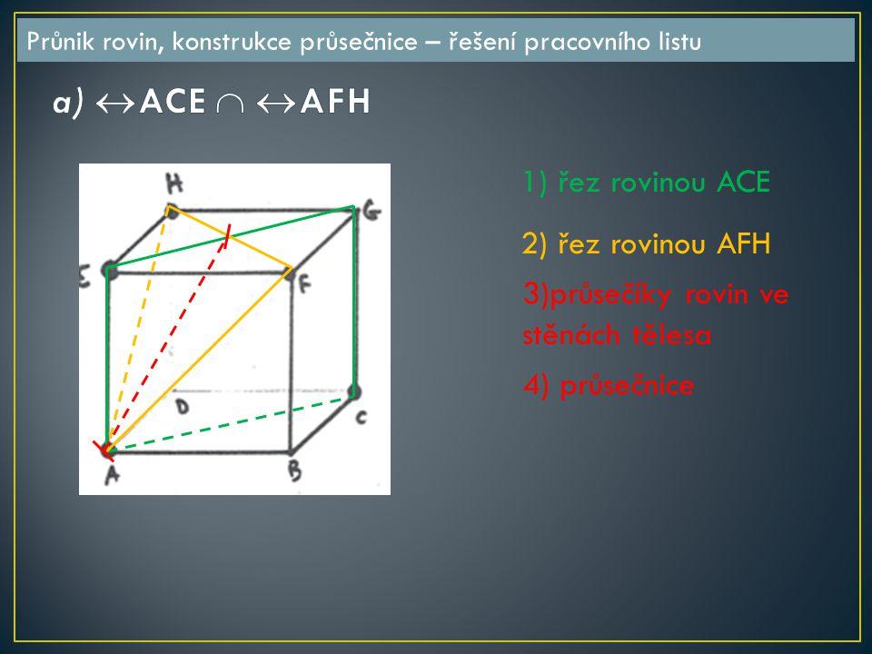 1) řez rovinou ACE 2) řez rovinou AFH 3)průsečíky rovin ve stěnách tělesa 4) průsečnice Průnik rovin, konstrukce průsečnice – řešení pracovního listu