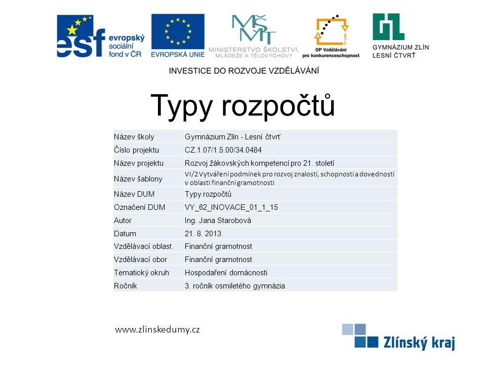 Typy rozpočtů www.zlinskedumy.cz Název školyGymnázium Zlín - Lesní čtvrť Číslo projektuCZ.1.07/1.5.00/34.0484 Název projektuRozvoj žákovských kompetencí pro 21.
