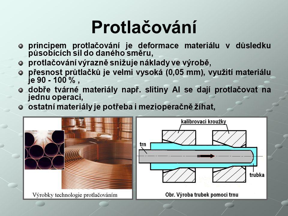 Protlačování principem protlačování je deformace materiálu v důsledku působících sil do daného směru, protlačování výrazně snižuje náklady ve výrobě, přesnost průtlačků je velmi vysoká (0,05 mm), využití materiálu je 90 - 100 %, dobře tvárné materiály např.