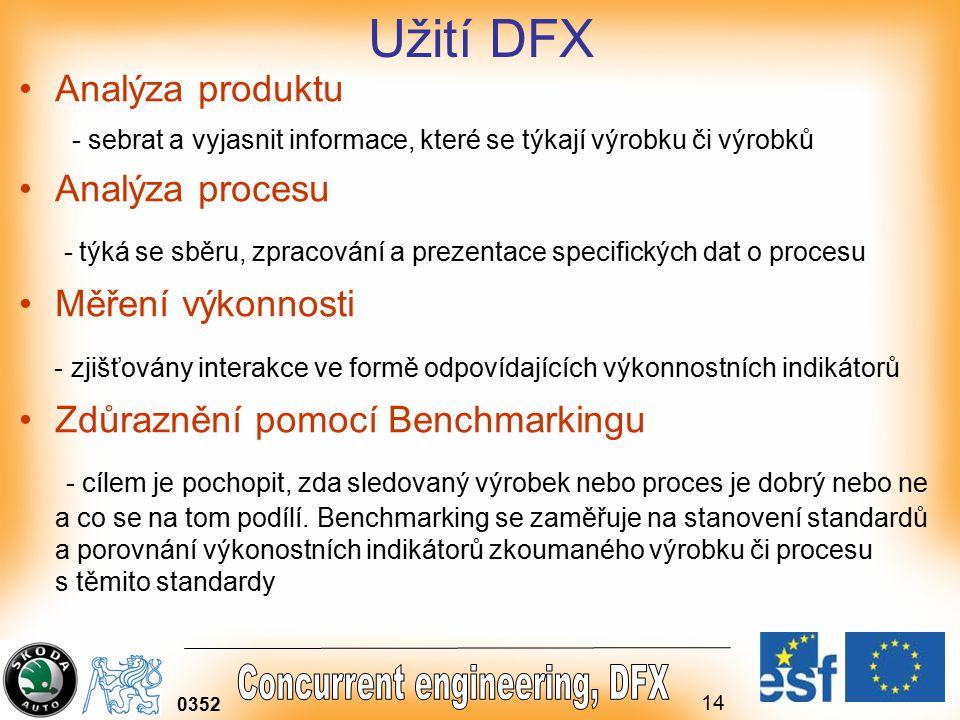 14 0352 Užití DFX Analýza produktu - sebrat a vyjasnit informace, které se týkají výrobku či výrobků Analýza procesu - týká se sběru, zpracování a prezentace specifických dat o procesu Měření výkonnosti - zjišťovány interakce ve formě odpovídajících výkonnostních indikátorů Zdůraznění pomocí Benchmarkingu - cílem je pochopit, zda sledovaný výrobek nebo proces je dobrý nebo ne a co se na tom podílí.