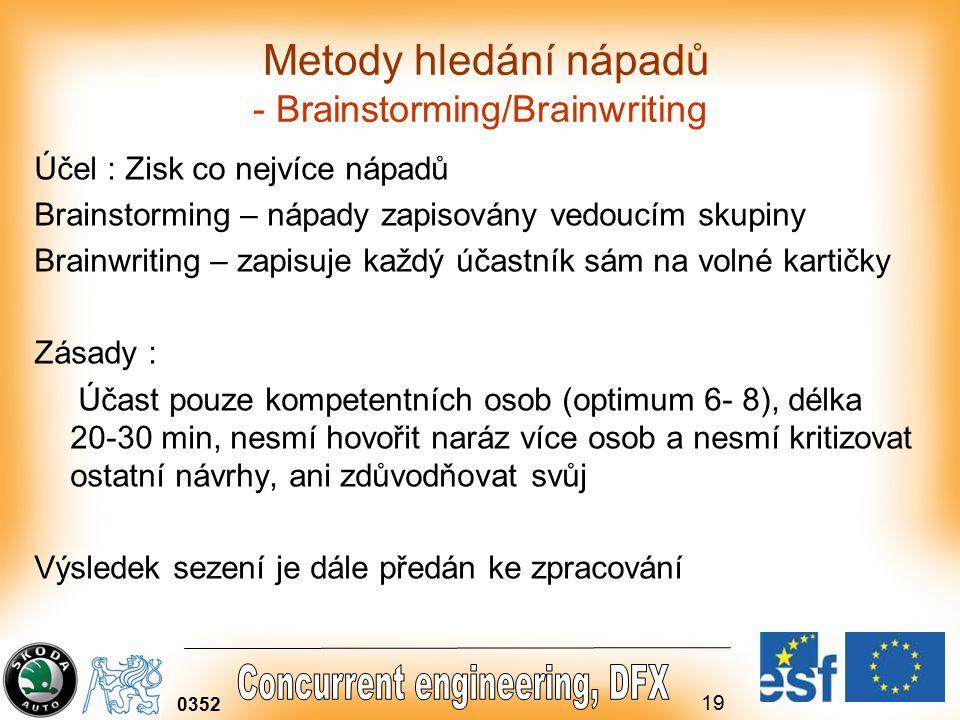19 0352 Metody hledání nápadů - Brainstorming/Brainwriting Účel : Zisk co nejvíce nápadů Brainstorming – nápady zapisovány vedoucím skupiny Brainwriting – zapisuje každý účastník sám na volné kartičky Zásady : Účast pouze kompetentních osob (optimum 6- 8), délka 20-30 min, nesmí hovořit naráz více osob a nesmí kritizovat ostatní návrhy, ani zdůvodňovat svůj Výsledek sezení je dále předán ke zpracování