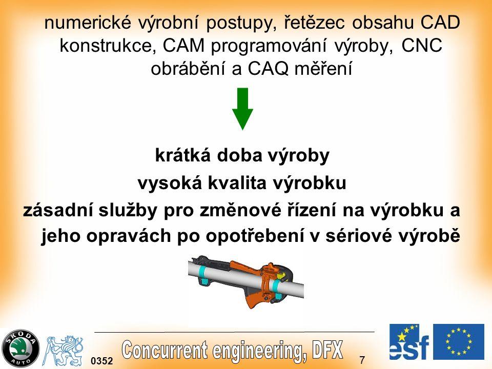7 0352 numerické výrobní postupy, řetězec obsahu CAD konstrukce, CAM programování výroby, CNC obrábění a CAQ měření krátká doba výroby vysoká kvalita výrobku zásadní služby pro změnové řízení na výrobku a jeho opravách po opotřebení v sériové výrobě