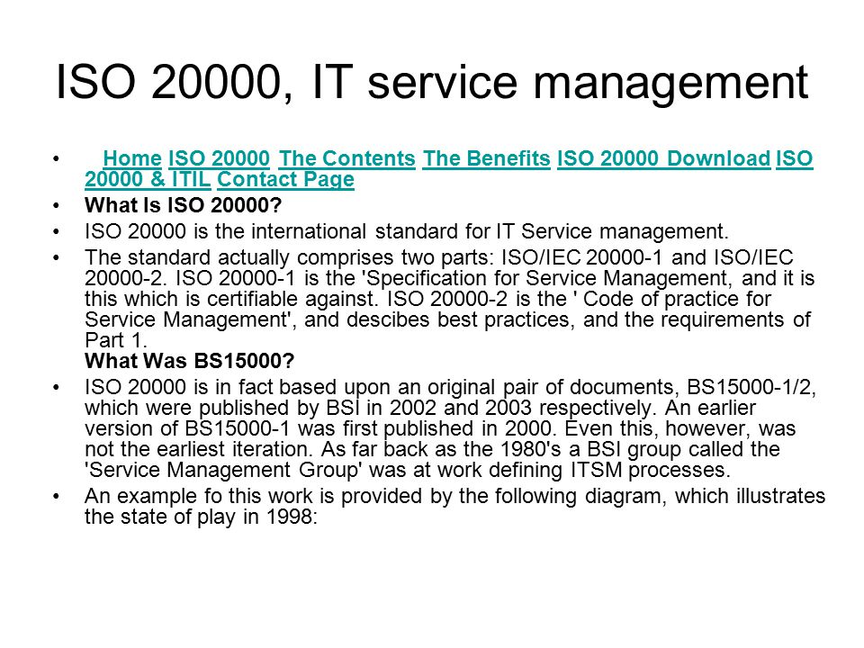 ISO 20000, IT service management Home ISO 20000 The Contents The Benefits ISO 20000 Download ISO 20000 & ITIL Contact PageHomeISO 20000The ContentsThe BenefitsISO 20000 DownloadISO 20000 & ITILContact Page What Is ISO 20000.