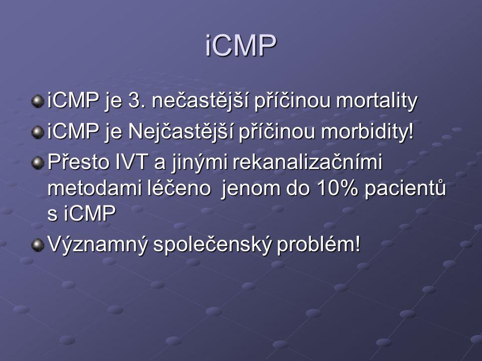 iCMP iCMP je 3. nečastější příčinou mortality iCMP je Nejčastější příčinou morbidity! Přesto IVT a jinými rekanalizačními metodami léčeno jenom do 10%