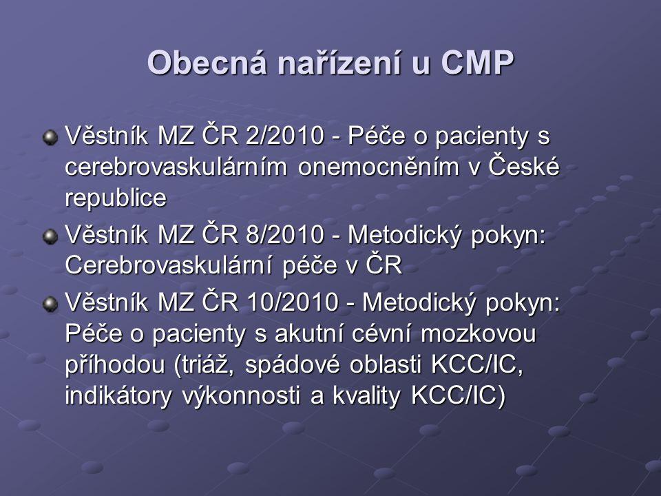 Obecná nařízení u CMP Věstník MZ ČR 2/2010 - Péče o pacienty s cerebrovaskulárním onemocněním v České republice Věstník MZ ČR 8/2010 - Metodický pokyn