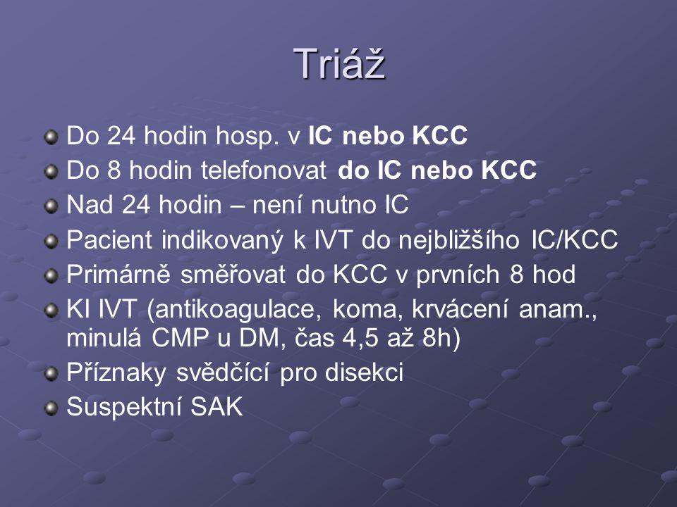 Triáž Do 24 hodin hosp. v IC nebo KCC Do 8 hodin telefonovat do IC nebo KCC Nad 24 hodin – není nutno IC Pacient indikovaný k IVT do nejbližšího IC/KC