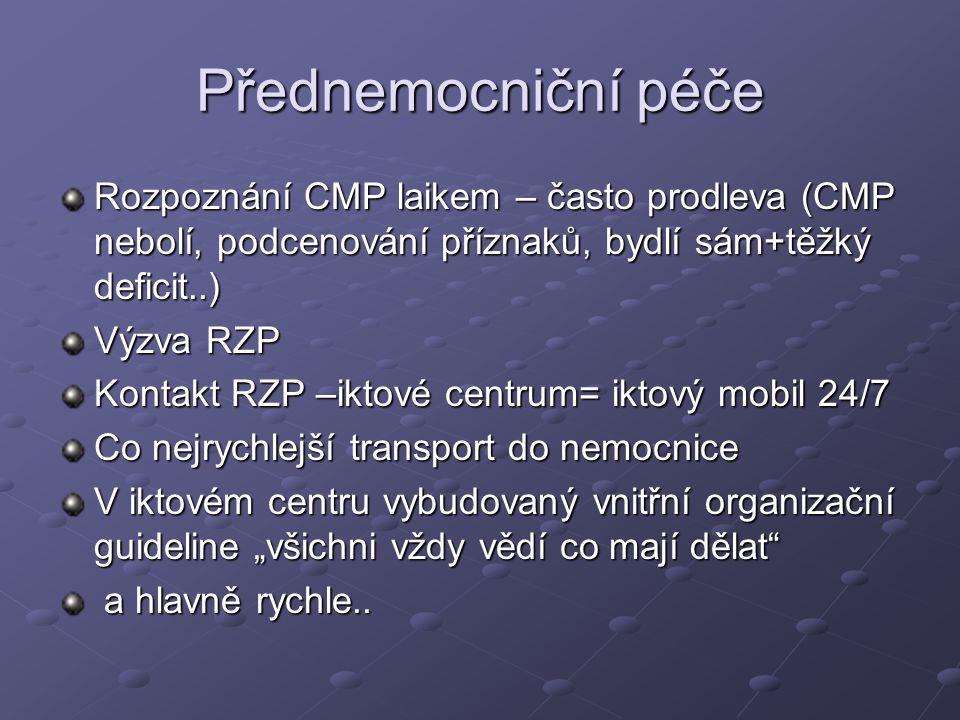 Přednemocniční péče Rozpoznání CMP laikem – často prodleva (CMP nebolí, podcenování příznaků, bydlí sám+těžký deficit..) Výzva RZP Kontakt RZP –iktové
