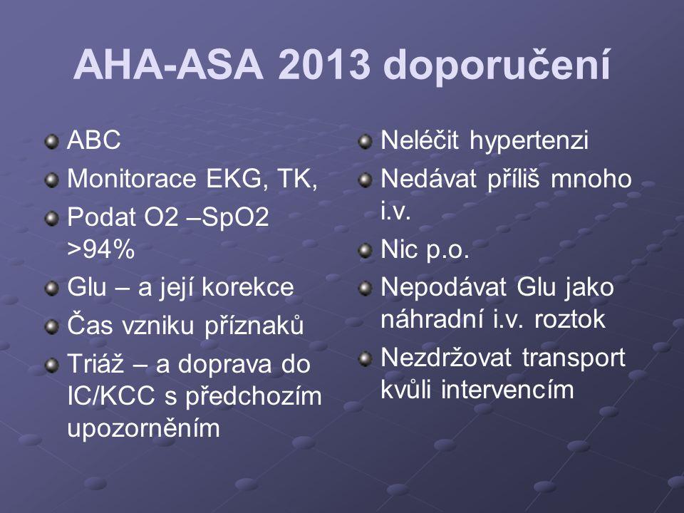 AHA-ASA 2013 doporučení ABC Monitorace EKG, TK, Podat O2 –SpO2 >94% Glu – a její korekce Čas vzniku příznaků Triáž – a doprava do IC/KCC s předchozím