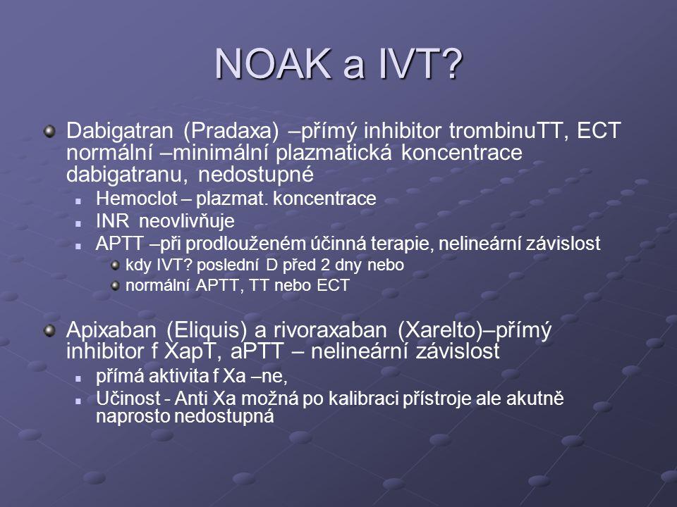 NOAK a IVT? Dabigatran (Pradaxa) –přímý inhibitor trombinuTT, ECT normální –minimální plazmatická koncentrace dabigatranu, nedostupné Hemoclot – plazm