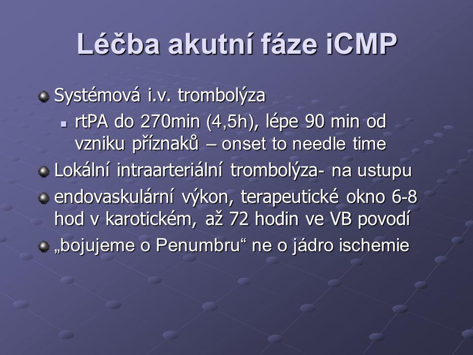 Léčba akutní fáze iCMP Systémová i.v. trombolýza rtPA do 27 0min (4,5h), lépe 90 min od vzniku příznaků – onset to needle time rtPA do 27 0min (4,5h),