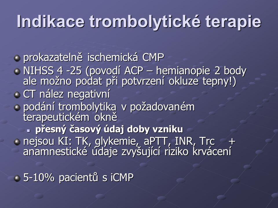 Indikace trombolytické terapie prokazatelně ischemická CM P NIHSS 4 -25 (povodí ACP – hemianopie 2 body ale možno podat při potvrzení okluze tepny!) C