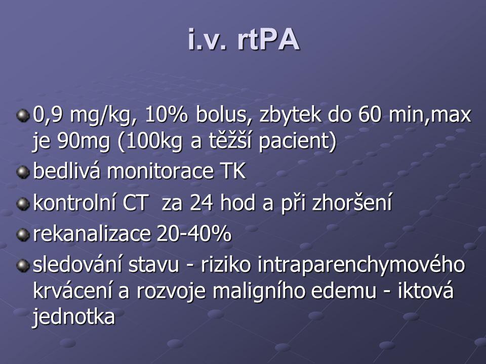 i.v. rtPA 0,9 mg/kg, 10% bolus, zbytek do 60 min,max je 90mg (100kg a těžší pacient) bedlivá monitorace TK kontrolní CT za 24 hod a při zhoršení rekan