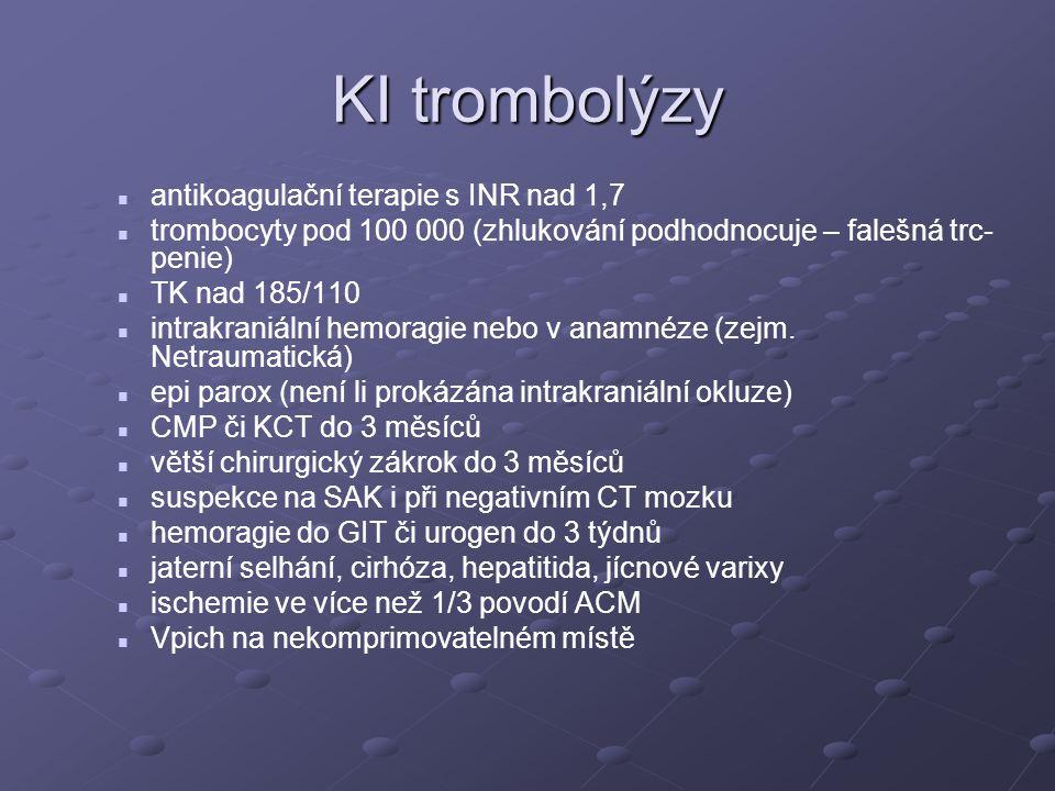 KI trombolýzy antikoagulační terapie s INR nad 1,7 trombocyty pod 100 000 (zhlukování podhodnocuje – falešná trc- penie) TK nad 185/110 intrakraniální