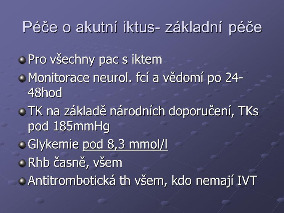 Péče o akutní iktus- základní péče Pro všechny pac s iktem Monitorace neurol. fcí a vědomí po 24- 48hod TK na základě národních doporučení, TKs pod 18