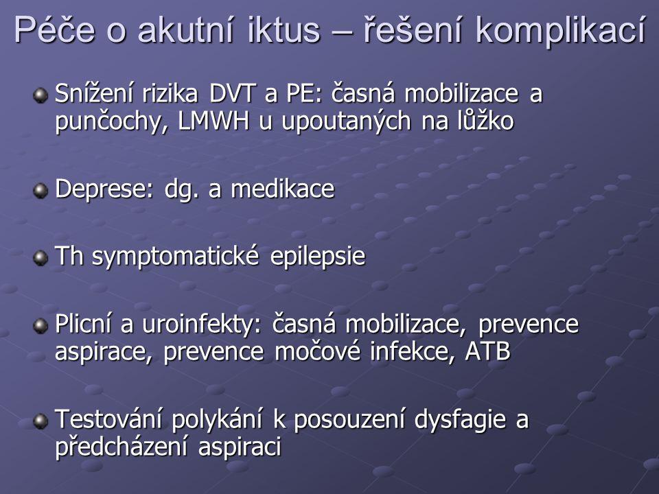 Péče o akutní iktus – řešení komplikací Snížení rizika DVT a PE: časná mobilizace a punčochy, LMWH u upoutaných na lůžko Deprese: dg. a medikace Th sy