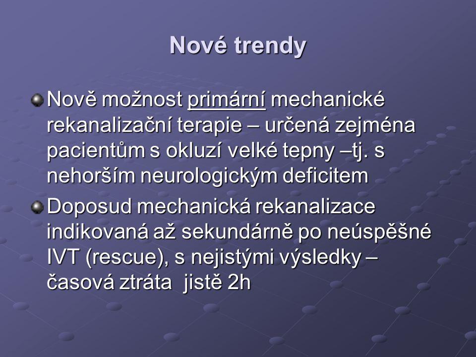 Nové trendy Nově možnost primární mechanické rekanalizační terapie – určená zejména pacientům s okluzí velké tepny –tj. s nehorším neurologickým defic