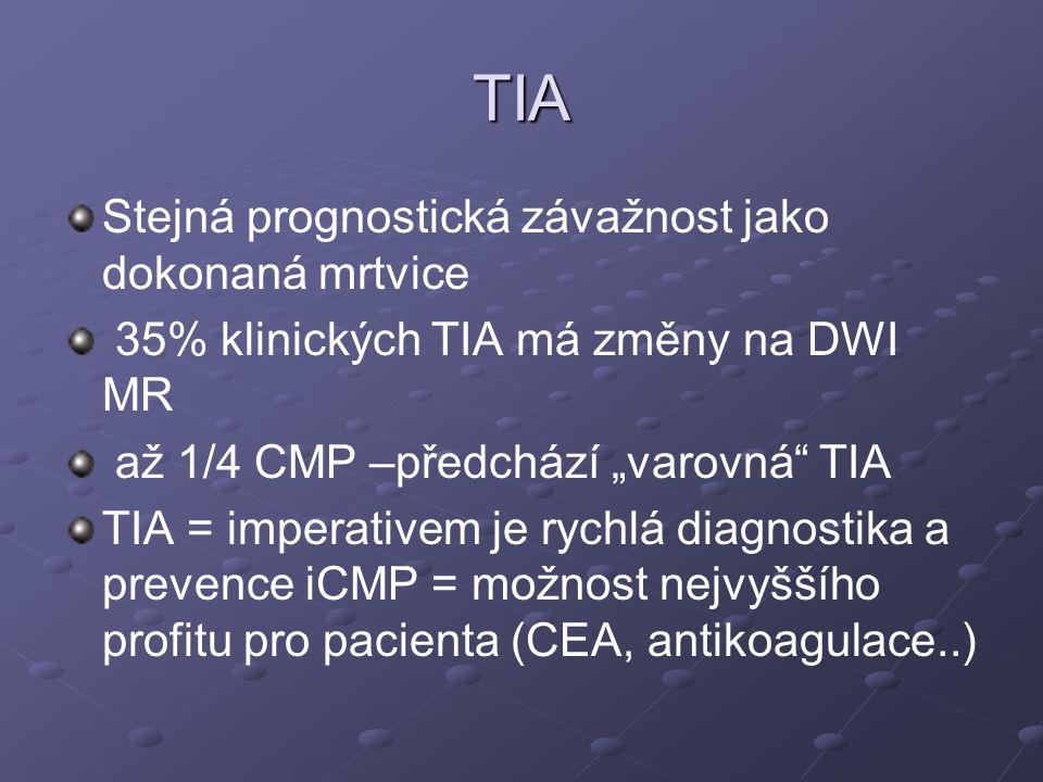 """TIA Stejná prognostická závažnost jako dokonaná mrtvice 35% klinických TIA má změny na DWI MR až 1/4 CMP –předchází """"varovná"""" TIA TIA = imperativem je"""