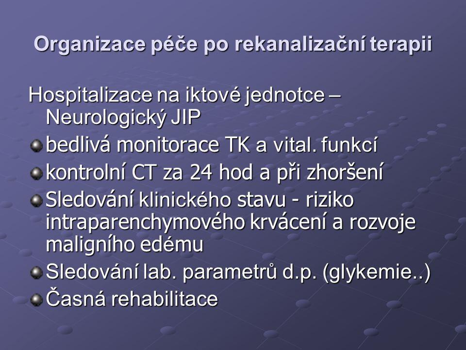 Organizace péče po rekanalizační terapii Hospitalizace na iktové jednotce – Neurologický JIP bedlivá monitorace TK a vital. funkcí kontrolní CT za 24