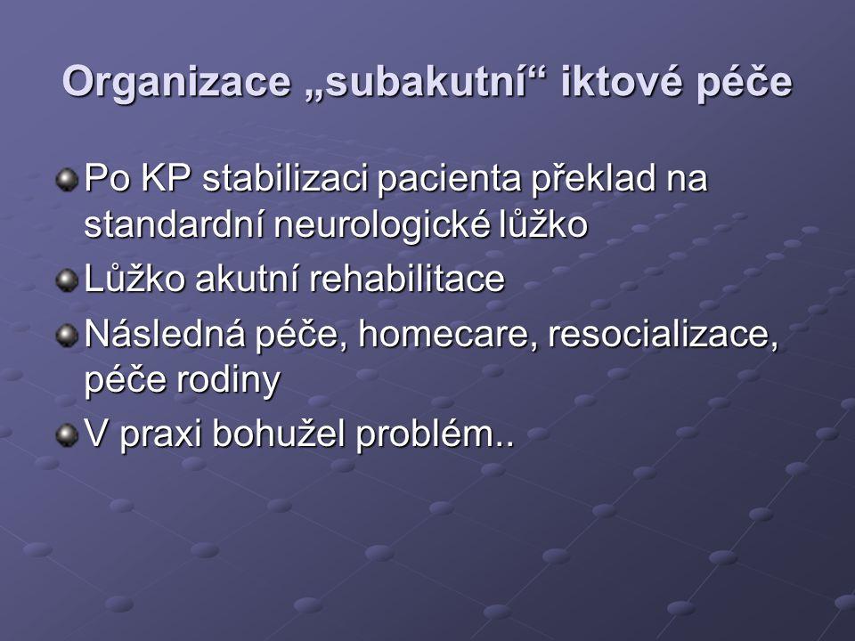 """Organizace """"subakutní"""" iktové péče Po KP stabilizaci pacienta překlad na standardní neurologické lůžko Lůžko akutní rehabilitace Následná péče, homeca"""