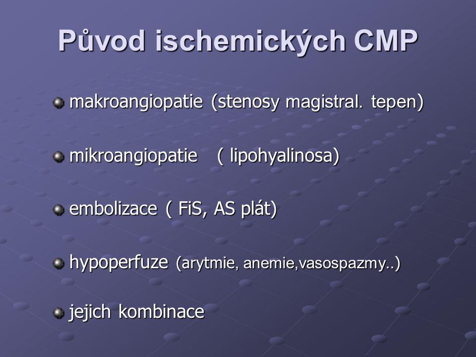 Původ ischemických CMP makroangiopatie (stenos y magistral. tepen ) mikroangiopatie ( lipohyalinosa) embolizace ( FiS, AS plát) hypoperfuze (arytmie,