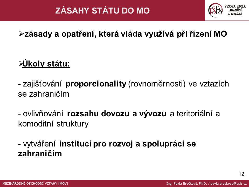 12. ZÁSAHY STÁTU DO MO  zásady a opatření, která vláda využívá při řízení MO  Úkoly státu: - zajišťování proporcionality (rovnoměrnosti) ve vztazích