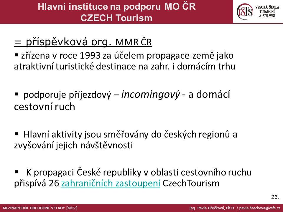 26. Hlavní instituce na podporu MO ČR CZECH Tourism = příspěvková org. MMR ČR  zřízena v roce 1993 za účelem propagace země jako atraktivní turistick