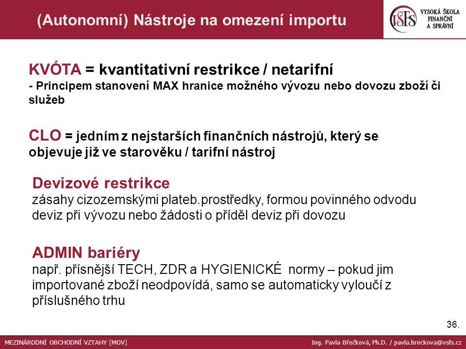 36. (Autonomní) Nástroje na omezení importu CLO = jedním z nejstarších finančních nástrojů, který se objevuje již ve starověku / tarifní nástroj KVÓTA