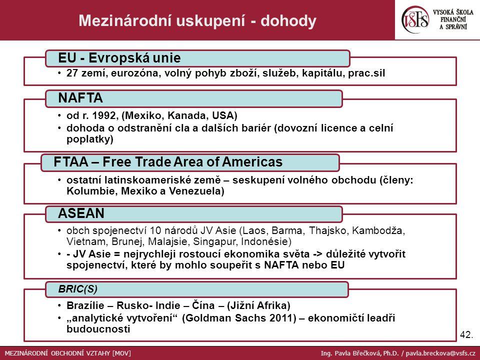 27 zemí, eurozóna, volný pohyb zboží, služeb, kapitálu, prac.sil EU - Evropská unie od r. 1992, (Mexiko, Kanada, USA) dohoda o odstranění cla a dalšíc