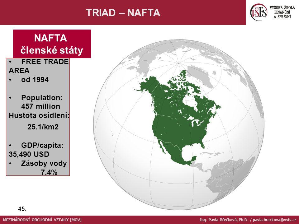 NAFTA členské státy FREE TRADE AREA od 1994 Population: 457 million Hustota osídlení: 25.1/km2 GDP/capita: 35,490 USD Zásoby vody 7.4% TRIAD – NAFTA 4