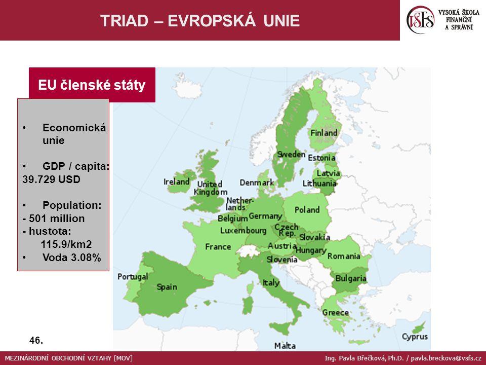 EU členské státy Economická unie GDP / capita: 39.729 USD Population: - 501 million - hustota: 115.9/km2 Voda 3.08% TRIAD – EVROPSKÁ UNIE 46. MEZINÁRO