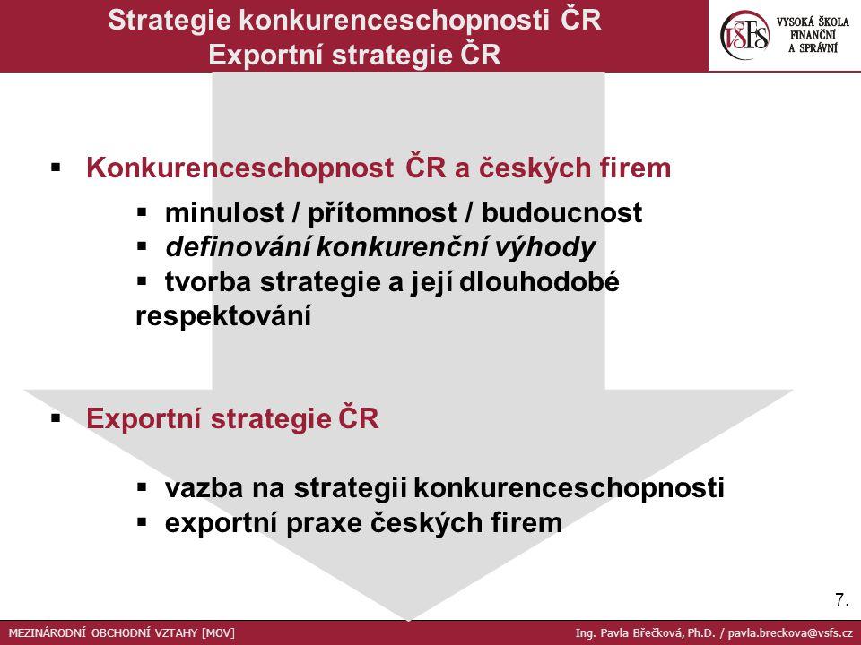 7.7.  Konkurenceschopnost ČR a českých firem  minulost / přítomnost / budoucnost  definování konkurenční výhody  tvorba strategie a její dlouhodob